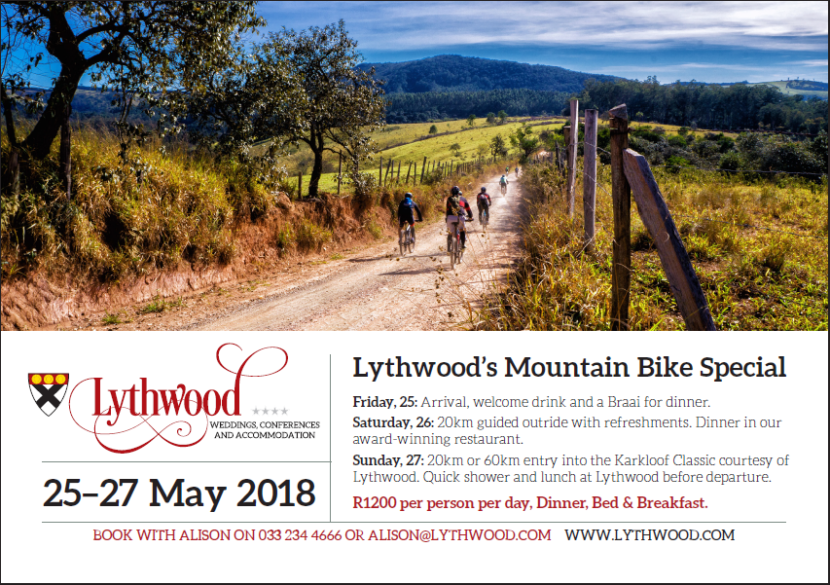 Lythwood Lodge - Karkloof Classic Mountain Bike offer